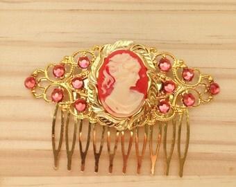 Bridesmaid Hair Comb: Cameo Handmade Peach/Salmon and Gold Wedding Comb - Bride/Bridesmaids