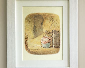 "FRAMED Beatrix Potter Print, New Baby/Birth, Nursery Picture, 3 Frame Options, Lovely Birth/Christening Gift 10""x8"" The Tale of Two Bad Mice"
