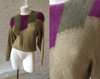 Mike Korwin Vintage Olive Green Sweater with Purple Cashmere Design