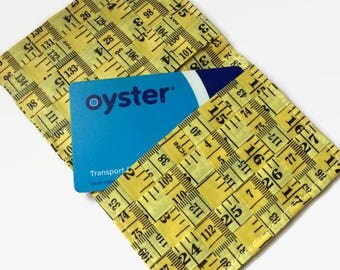 Yellow Ticket Holder, Tape Measure Oyster Card, Travel Pass or Card Pouch