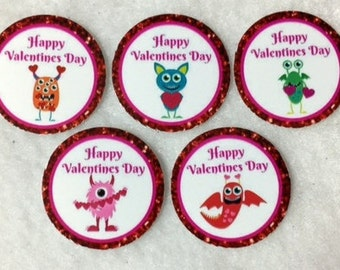 Set Of 50/100/150/200 Valentines Day Monsters 1 Inch Circle Confetti