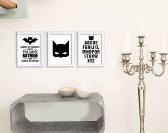 """Canvas picture set """"Batman"""", 3-piece"""