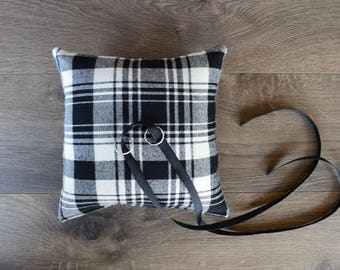 Flannel Plaid Wedding Ring Pillow in Ivory and Black