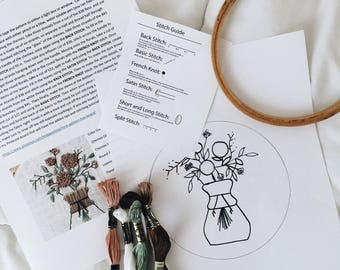 Chemex Embroidery Pattern Kit // Embroidery Pattern Kit // Coffee Embroidery Pattern Kit // Embroidery Pattern // Embroidery Design //