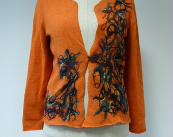 Special price. Handamde orange wollen sweater, L size. Only one sample.
