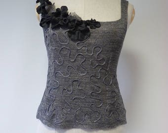 Summer amazing handmade grey linen top, L size.