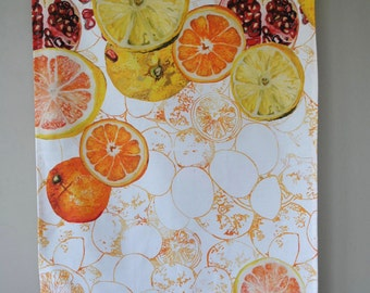 Digitally Printed Oranges and Lemons Tea Towel