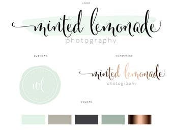 Branding Identity Package | Logo Design | Water color rose gold Logo | Social Icons | Watermark