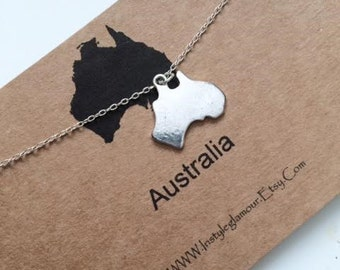 Australia Necklace, Continent Necklace, Australia Charm Necklace, Birthday Gift