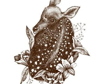 estelle // floral fawn illustration print