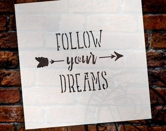 Follow Your Dreams - Rustic Arrow - Word Art Stencil - Select Size - by StudioR12