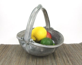 Pottery Fruit Basket, Hand Made Ceramic Fruit Bowl or Serving Bowl in Cool Grey Glaze, Large Bowl with Handle, Ready to Ship