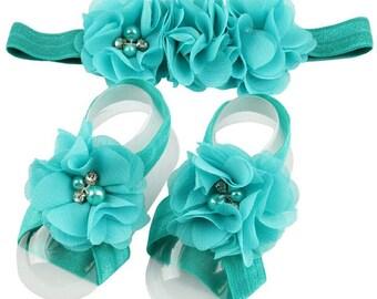 Teal Barefoot Baby Sandals - Teal Cake Smash - Teal Flower Girl Headband - Fancy Headband - Barefoot Baby Sandals - Chiffon Headband