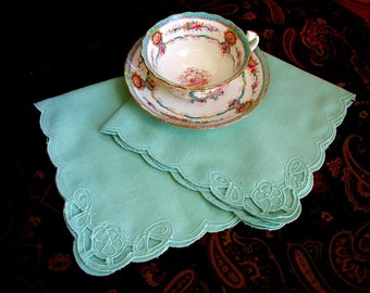Vintage Set of 2 Aqua Green Cutwork Napkins Mid Century Table Linens