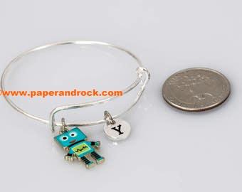 Robot initial bracelet, robot jewelry, technology bracelet, nerdy jewelry, robot pendant, geek jewelry, silver robot bracelet