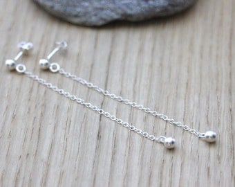 Drop earrings with sterling silver beads - minimalist earrings - long silver earrings - fine silver earrings
