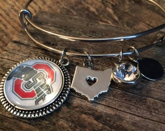 Ohio State buckeyes bracelet ,expandable bangle, Buck eyes bracelet bangle,adjustable bangle ,collectible,green and gold,Stainless steel