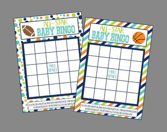 Baby Bingo for Sports Baby Shower. All Star Baby Bingo Shower Game. Instant Digital Download. Football Basketball, Sports, Balls,