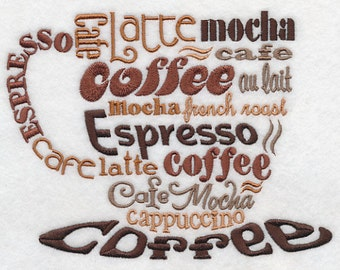 COFFEE LOVERS CUP Espresso, Latte, Mocha, Cafe, Wording Machine Embroidered Quilt Square, Art Panel