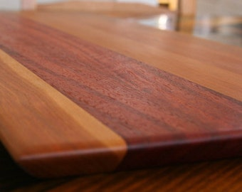 Jarrah and Cherry Cutting Board, or serving board, in a Striped Pattern
