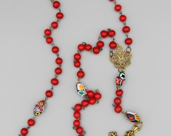 Handmade Vintage Scarlet and Murano Glass Fleur De Lis Rosary