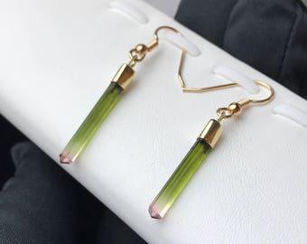 9K Gold Watermelon Tourmaline Crystal Earrings.
