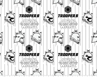 White Stormtroopers fabric remnant 1 yard 10 inches- Star Wars fabric, The Force Awakens, Camelot - Imperial, Kylo Ren, stormtrooper