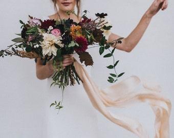 Gold Silk silk chiffon satin ribbon, pale buttermilk gold hand-dyed silk ribbon, silk bridal sash,silk ribbon, bridal bouquet ribbon