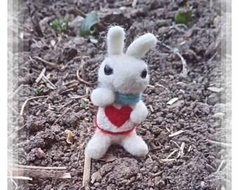 White Rabbit,  Alice in Wonderland,  Needle Felted Gift