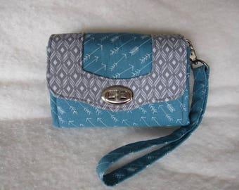 Mini Necessary Clutch Wallet, Accordion Wallet, Blue & Gray Arrow Fabric, Wristlet Wallet