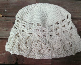 Hearts Cotton Lace Cloche; knit heart lace; broomstick lace, and crochet lace crown.