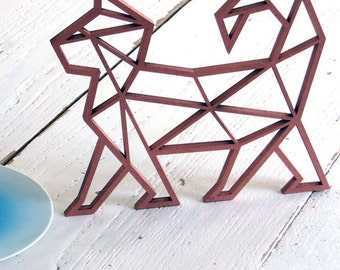 Katze - 3D Origami - wooden motive