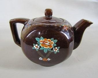 CLEARANCE brown ceramic teapot with enamel decorations
