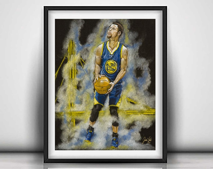 Featured listing image: Golden State Warriors - Steph Curry Art Print - Chef Curry - Wall Art - Man Cave Art - Golden State - Warriors Decor - Dorm Decor