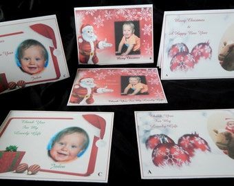 New 25, 32 or 40 x Personalised With Photograph Christmas Cards or Thank You Cards, Choose From 2 Styles and 3 designs with Free Envelopes