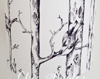 Black White Bird Tree Fabric Lampshade