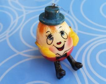Vintage De Sela Christmas Ornament Paper Mache - Humpty Dumpty - 1970's