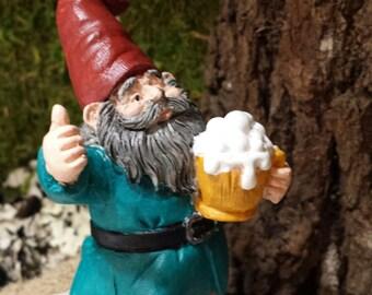 GNOME STATUE, Tipsy Gnome, Mini Garden decor, Fairy doors, for fairy gardens
