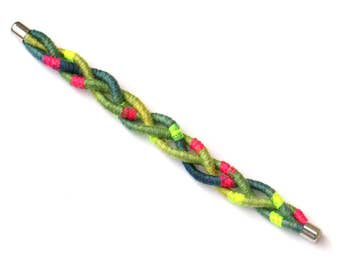 Colorful Braided Bracelet, Textile Bracelet, Neon Pop Summer Bracelet, Rope Bracelet, Fiber Bracelet, Festival Bracelet, Cotton Bracelet