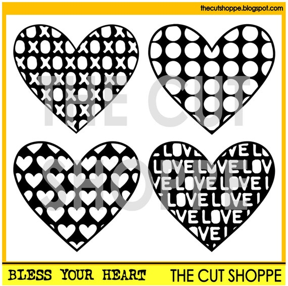 The Bless Your Heart cut file set includes 4 heart designs, that can be used for your scrapbooking and papercrafting projects.