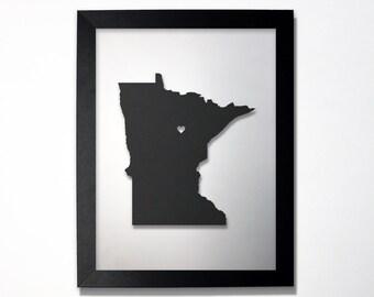 Minnesota Map / Laser Cut Map / Minnesota State Art / Minnesota Art / Framed State Map / Minnesota Gift / Wedding Gift / Anniversary Gift