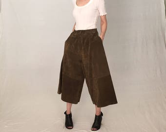 Suede culottes L/Army green leather pants women/High Waist vintage brown suede pants skirt/palazzo skort wide leg bell bottom 70s crop flare