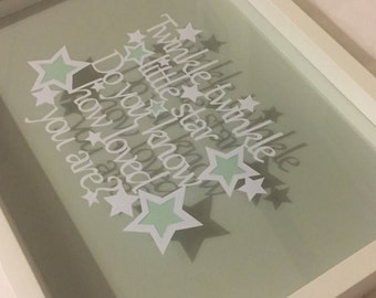 Nursery decor frame- papercut twinkle twinkle quote. Choice of colours.baby boy baby girl nursery - childs bedroom