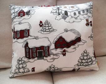 Scandinavian Christmas Style Handmade Burgundy Red White Throw Pillow Sham Cushion Case Cover
