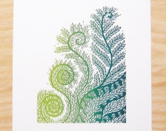 "Woodcut Print - ""Life's Design"" - Fiddlehead Fern - Plant Print - Wall Art"
