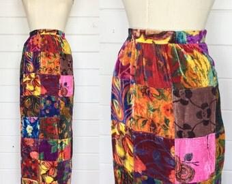 Vintage 1960s Crushed Velvet Patchwork Maxi Skirt / Made by Jantzen / Hippie / Psychedelic