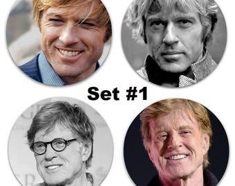 "Robert Refdord Set Of 4 Large 2.25"" Pinback Buttons or Magnets - Choose Your Favorite Set"