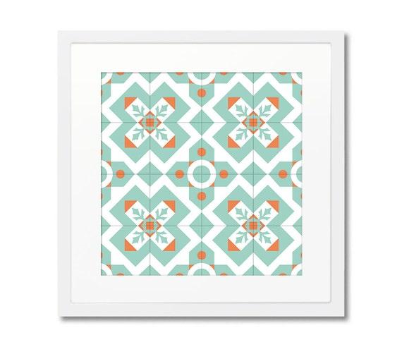 Geometric Art Print With Frame, Turquoise Print, Ceramic Tile Art, Framed Print, Wood Frame, Modernist Decor, Wall Decorating