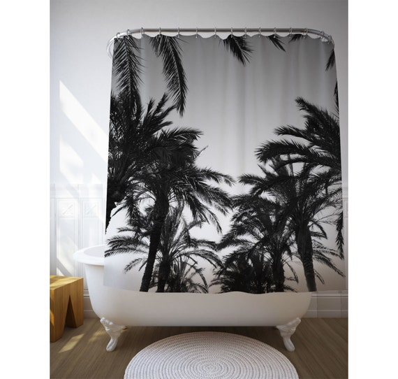 Black And White Palm Trees Shower Curtain, Tropical Shower Art, Beach House Decor, Bath Decoration, Personalized Bath