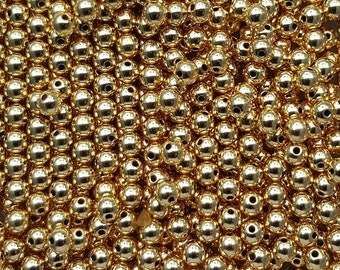Gold Filled 4mm Seamless Beads, Hole 0.8mm  - Select 10, 20, 50 or 100 Beads
